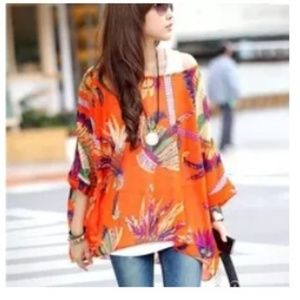 Orange boho floral sheer summer tunic blouse